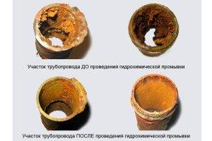 Внешние стены труб до и после синтетической обработки