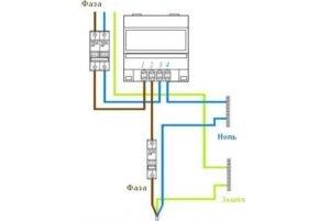 Схема подключения однофазного электросчетчика. (Для увеличения нажмите)
