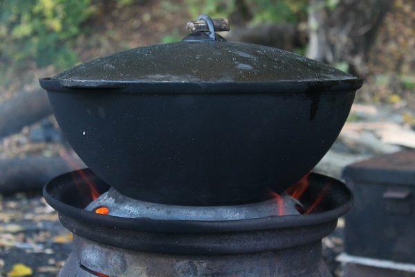 Печка из дисков для казана
