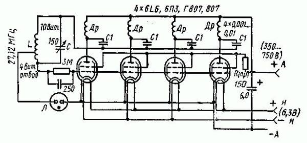 Электрическая схема индукционной печи на лампах