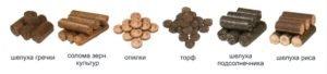 Разновидности сырья для производства брикетов (нажмите для увеличения)