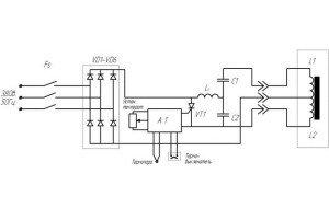 Электрическая схема индукционного нагревателя воды. (Для увеличения нажмите)