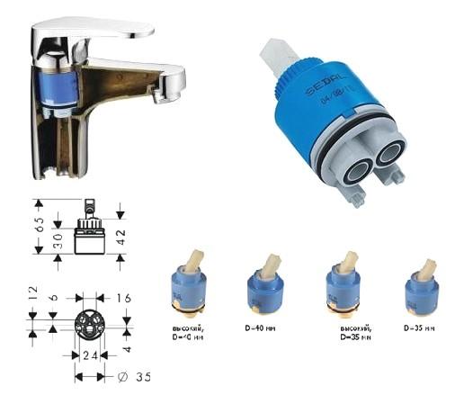 Схема установки картриджа в смеситель