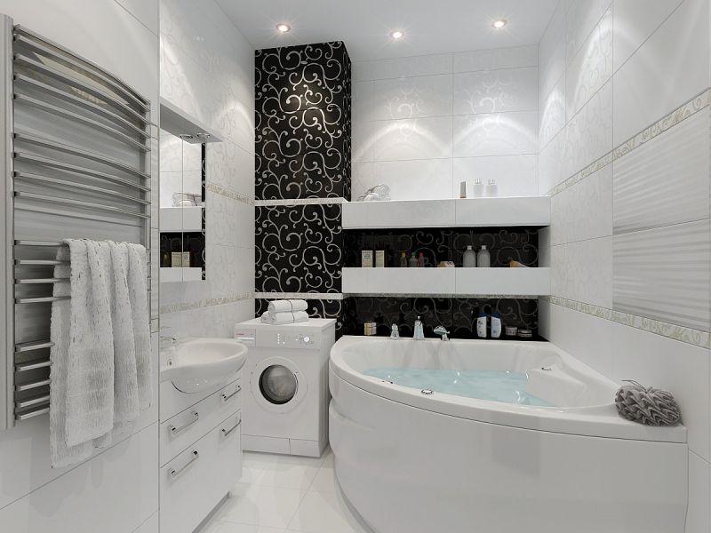 А на какой стороне вы: чёрно-белая ванная комната
