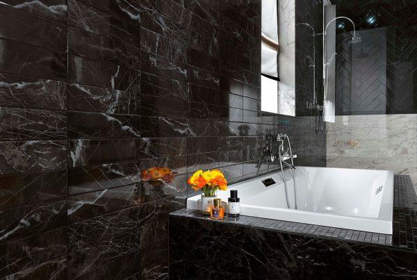 Чёрно-белая ванная комната