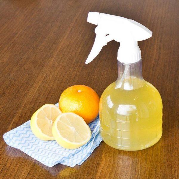 Лимон, апельсин и ёмкость с пульверизатором