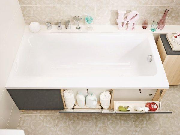Экран для ванны с полочками