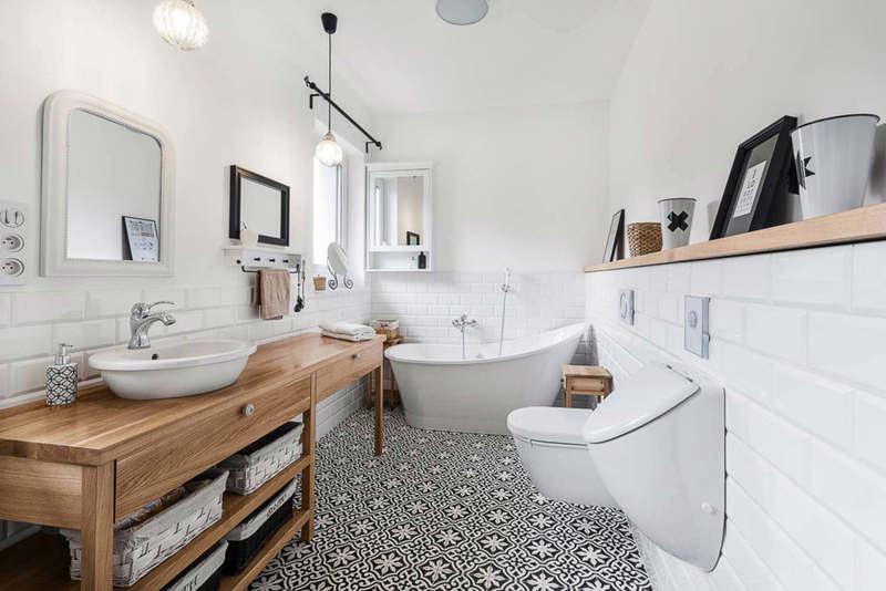 Ванная в скандинавском стиле: 40 фото стильных интерьеров