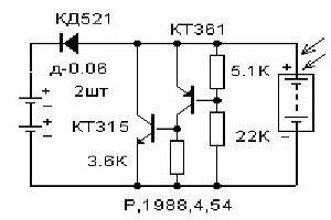 Электросхема светильника с солнечной батареей